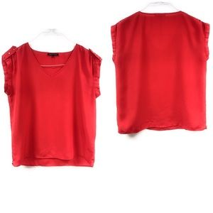 Violet & Claire Womens Blouse Red Gold Top